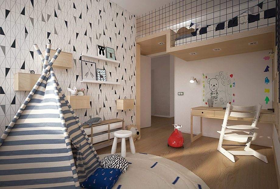 Pokój Jasia widok na antresolę z łóżkiem